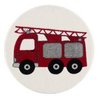 Tapis enfant rond Camion de pompier