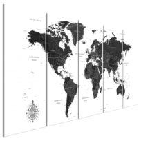Wandbild Black and White Map (5-teilig)