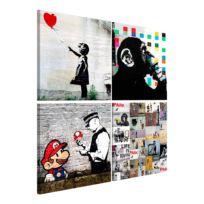 Wandbild (Banksy) Collage (4-teilig)