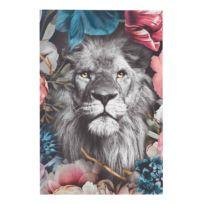 Wandbild Löwe Blumenkranz