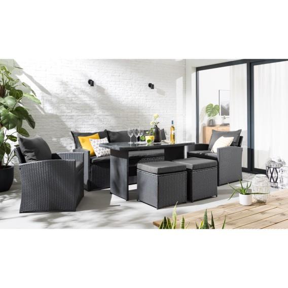 Salon de jardin Manta (6 éléments) - Aluminium / Matière plastique -  Anthracite