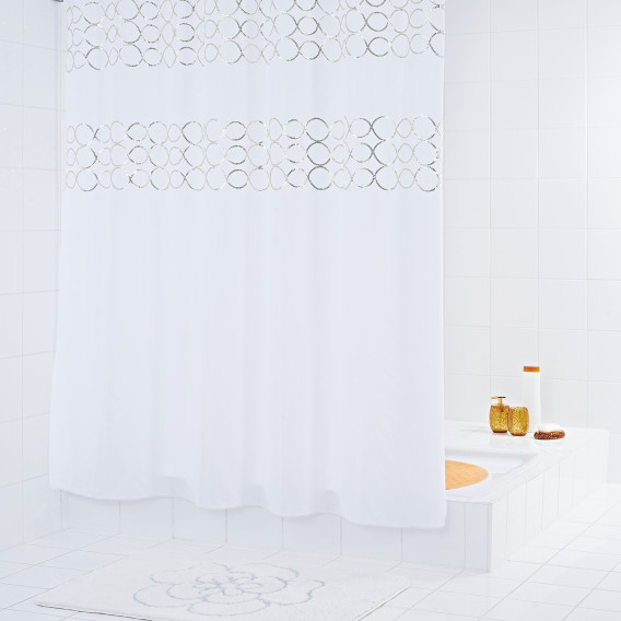KunstfaserWeißSilber Paillette Duschvorhang Duschvorhang Duschvorhang Paillette KunstfaserWeißSilber RA3jL54