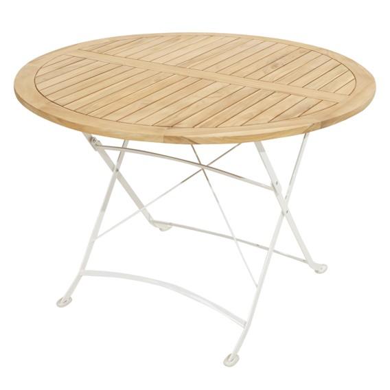 Table de jardin pliante Rom II - Fer / Teck massif - Blanc / Marron