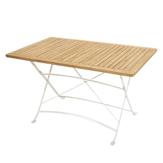 Table de jardin pliante Rom I - Fer / Teck massif - Marron / Blanc