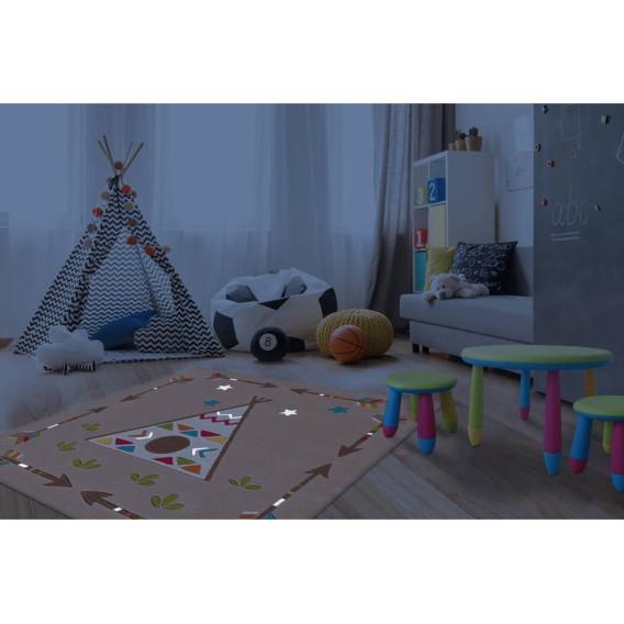 Kinderteppich Glowy Kinderteppich Glowy Indian KunstfaserBeigeMulti Indian QrdChts