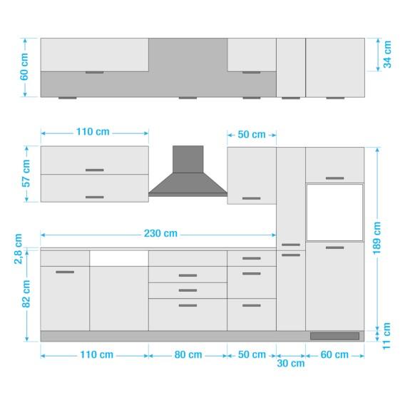 GraphitOhne Mailand Küchenzeile Elektrogeräte Kochfeld Xi m8Ovn0Nw