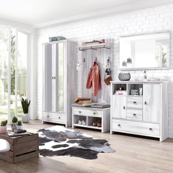 Wohnzimmer Sitzsack Chacos In Weiß Taupe: Garderobenbank Kerko - Taupe / Eiche Weiß Dekor