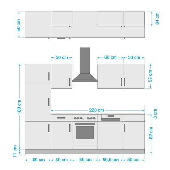 Varel Iv Hochglanz Elektrogeräten DekorMit Küchenzeile RotBuche OPwk8n0X