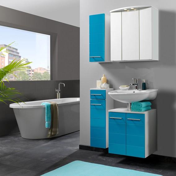 Ensemble pour salle de bain - Turquoise / Blanc