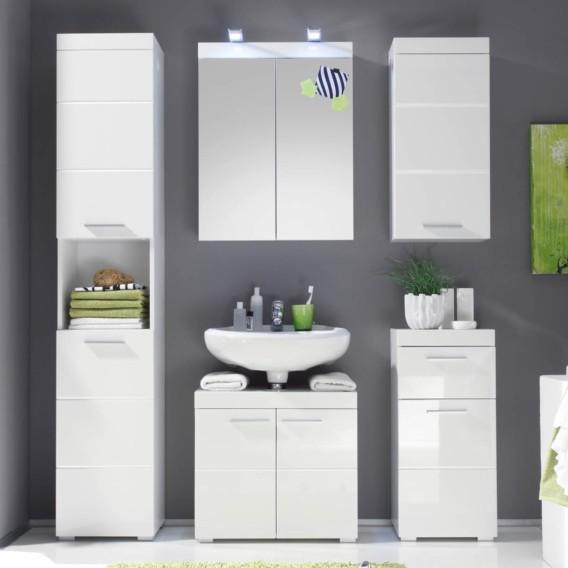 Badezimmerset Madie I (5-teilig) - Hochglanz Weiß / Weiß