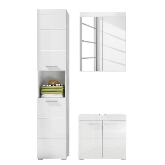 Badezimmerset Madie IV (3-teilig) - Hochglanz Weiß / Weiß