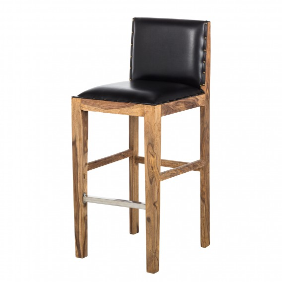 nouvelle collection 22659 37c3f Tabouret de bar Bombay I - Sheesham massif - Naturel / Noir