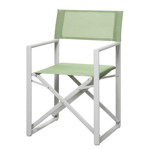 Chaise de jardin Messina II - Aluminium / Ergotex Crème Vert clair