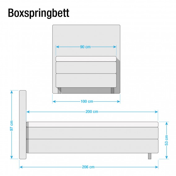 X Vii Boxspringbett Ramona Brilliantblau90 200cm zLqjpGMSUV