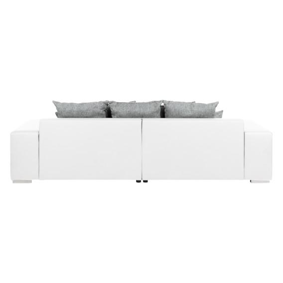 Aaron grauMit Weiß Weiß strukturstoff Hocker Kunstleder Bigsofa yIf76gmYbv
