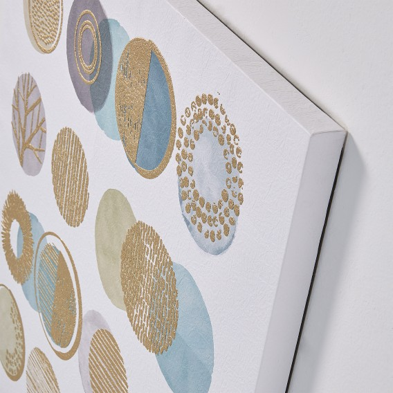 Round Silva Bild MassivWeiß PapierKiefer Gold m80nwN