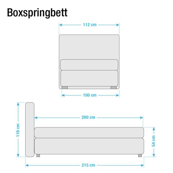 200cmH2 Boxspringbett X Lifford 100 Bonellfederkernmatratze Braun CxBoeWrdQE