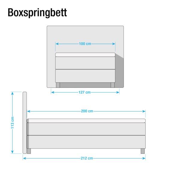Bonellfederkernmatratze BeigeTaupe Boxspringbett Kunstleder 100 X Vimmerby 200cmH2 iZuwTOPkXl