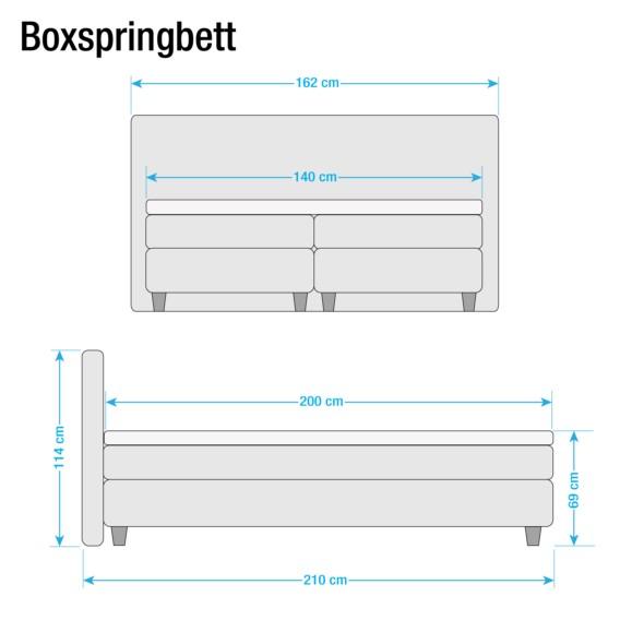 140 X 200cm Boxspringbett IinklTopperMicroveloursDunkelbraun Welham SqUzMpV