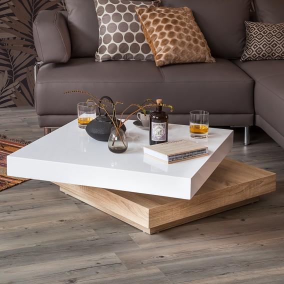 Table Basse Emblaze Blanc Brillant Imitation Chene De Sonoma