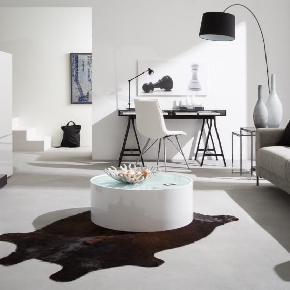Tavolini Di Vetro Design.Tavolino Da Salotto Lounge Bianco Lucido E Piano Di Vetro