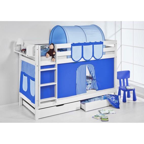 Jelle 190 Etagenbett Blau 90 Cm X Mit Lilokids VorhangWeiß OPXZuik