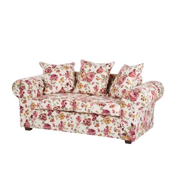 Sofa Colmar 2 Sitzer Stoff Blume Beige