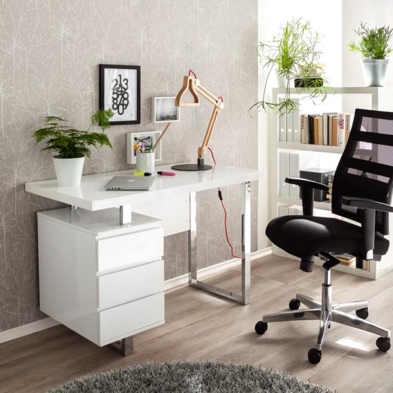 1 Hochglanz Paddington Container Schreibtisch Weiß LackiertMit ul1TF5Jc3K