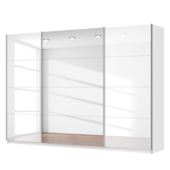 schwebet renschrank skop in hochglanz wei 3 t rig mit spiegel home24. Black Bedroom Furniture Sets. Home Design Ideas