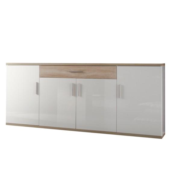 sideboard eularia hochglanz wei eiche s gerau hell. Black Bedroom Furniture Sets. Home Design Ideas