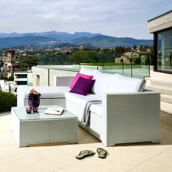 Sitzgruppe teiligPolyrattanTextil Lounge Paradise3 Weiß Lounge 3R4Ljq5A