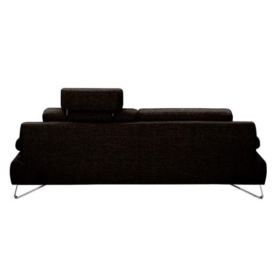 sitzerWebstoff schwarzKopfstütze Verstellbar Sofa Silvano3 Braun EDe2IYH9W