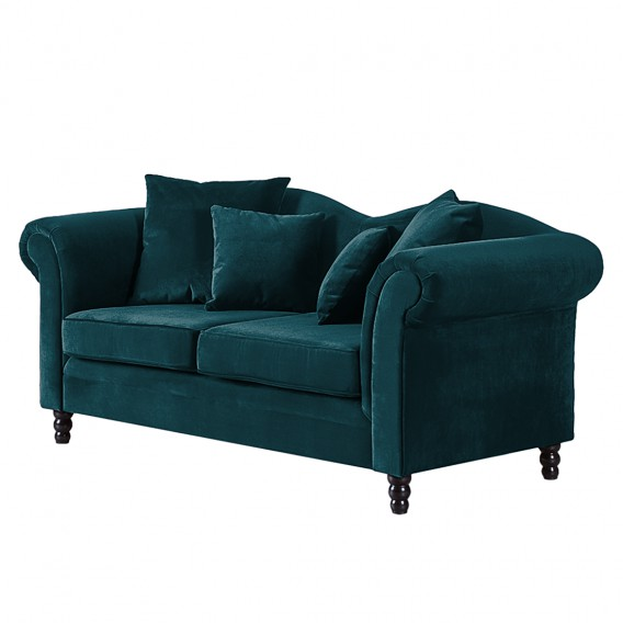sofa york 2 sitzer samtstoff petrol home24