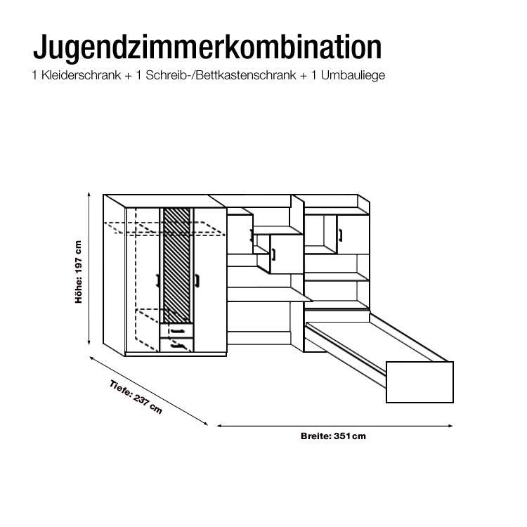 Jugendzimmer Flow (3-teilig) - Kleiderschrank, Bett & Regalwand ...