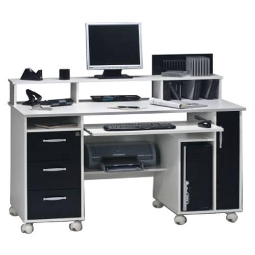 Great Computertisch Loel   Weiß/Schwarz Dekor Nice Design