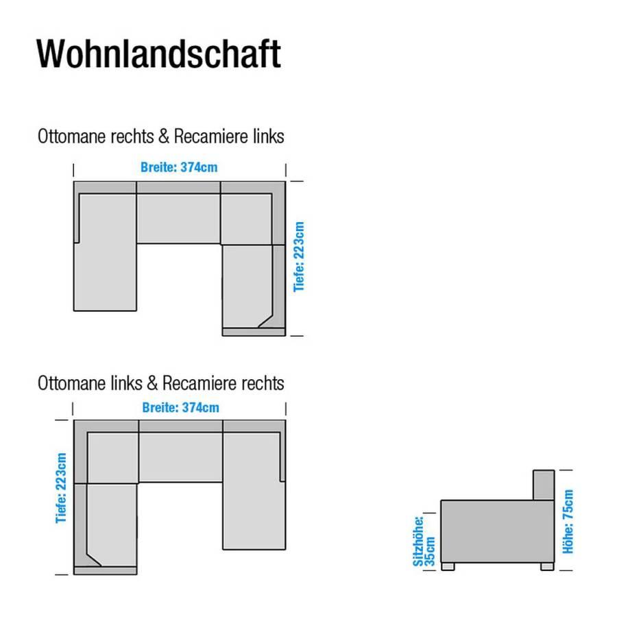 strukturstoff Rechts Davorstehend SchwarzOttomane Wohnlandschaft Lincoln Kunstleder cAj3Lq4R5