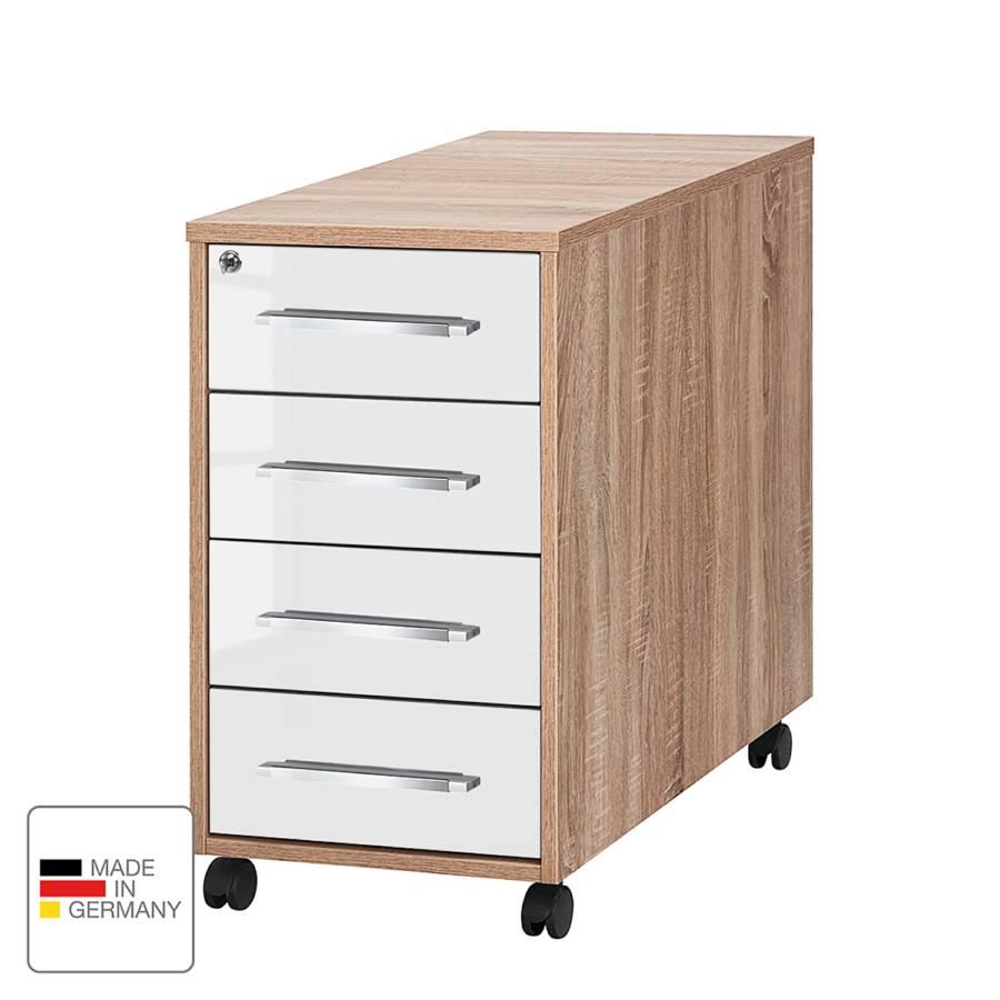 Rollcontainer Sonoma I DekorHochglanz Merit Eiche Weiß 08nmNw