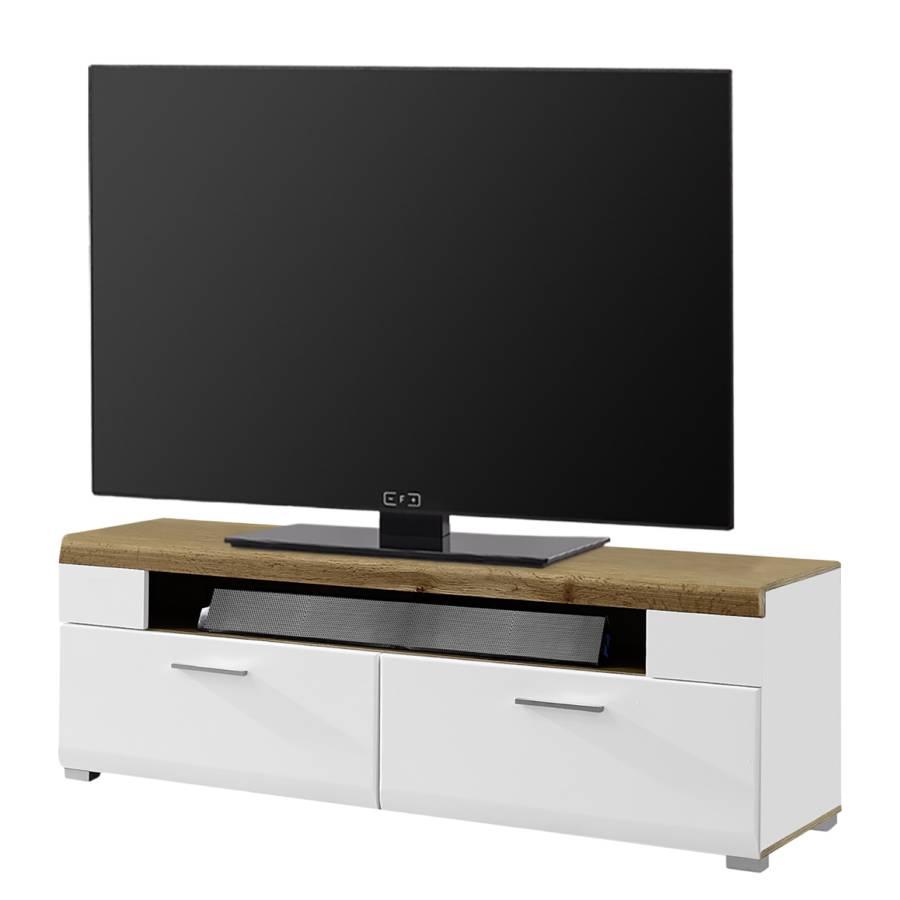 Flatscreen Tv Meubel.Tv Meubel Aulby I Mat Wit Eikenhouten Look Home24 Nl