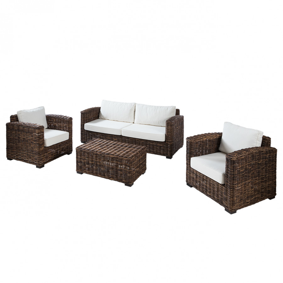 Salon de jardin Jimma (4 éléments) - Coton / Polyrotin | home24.fr