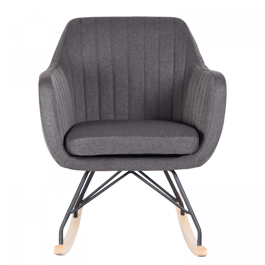 Leedy TissuHêtre MassifGris Foncé Chair Rocking SUqMLVGzp