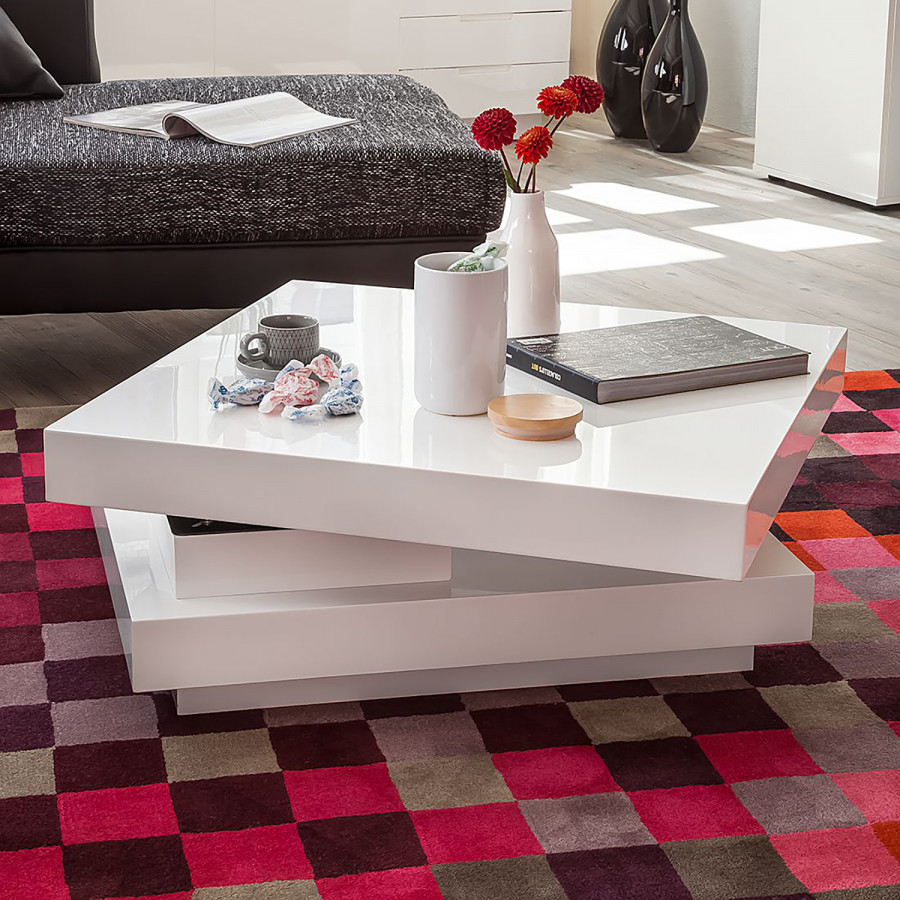 Brillant Table Basse Table Emblaze Blanc WDIEH9Y2be
