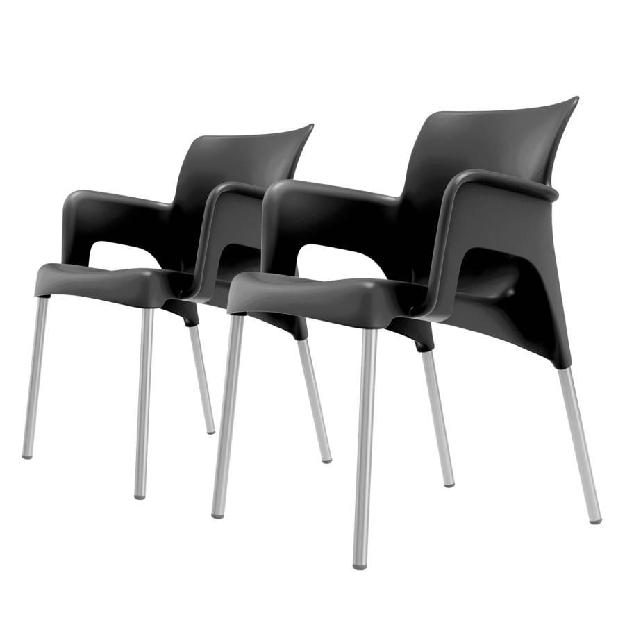 Chaises De PlastiqueAluminiumNoir Accoudoirs 2Matière À Sunlot qUpMVSGz