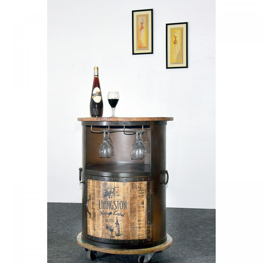 Meuble Foncé De Mellen I Vintage MétalManguier RecycléMarron Bar oerCdxB
