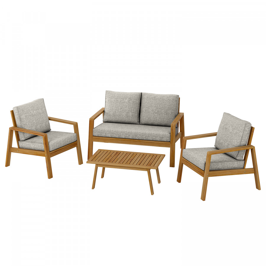Salon de jardin Milolii (4 éléments) - Acacia massif / Tissu | home24.be