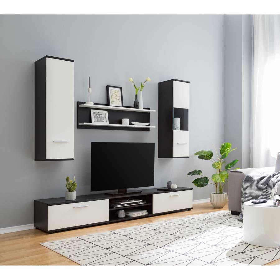 Ensemble Meubles Tv Kiydoo Ii 4 Elem Blanc Noir Home24 Fr