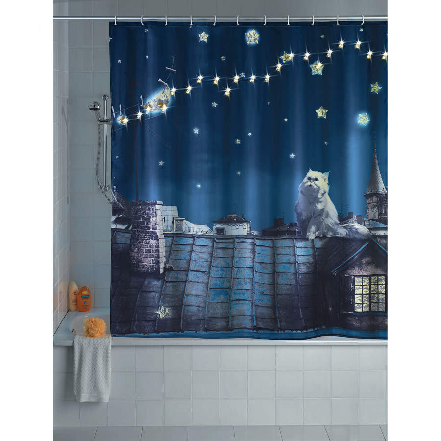 KunstfaserDunkelblau Moon Cat Moon Led duschvorhang duschvorhang Led KunstfaserDunkelblau Led Cat 08mNvnw