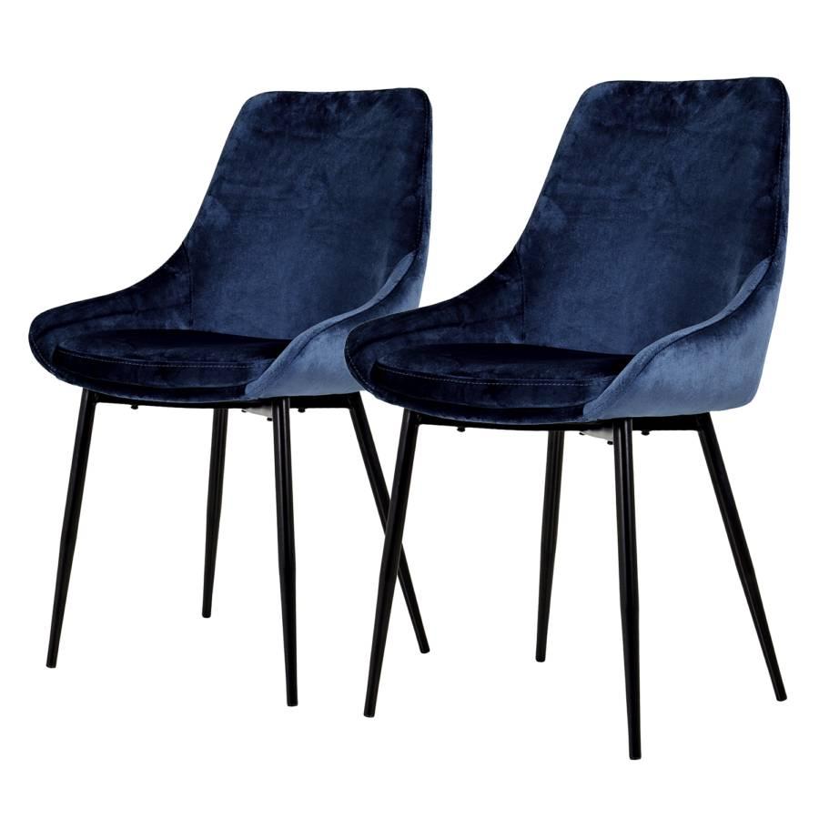 De 2VeloursMétalNoir Lexlot Chaises Bleu Capitonnées Foncé nk0PNwXO8Z