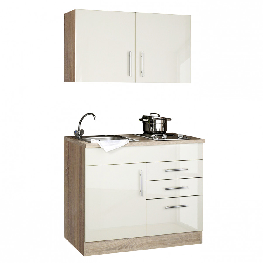 100 küchenzeile Hochglanz Toronto CremaKochplatte Single Cm xBrCoed