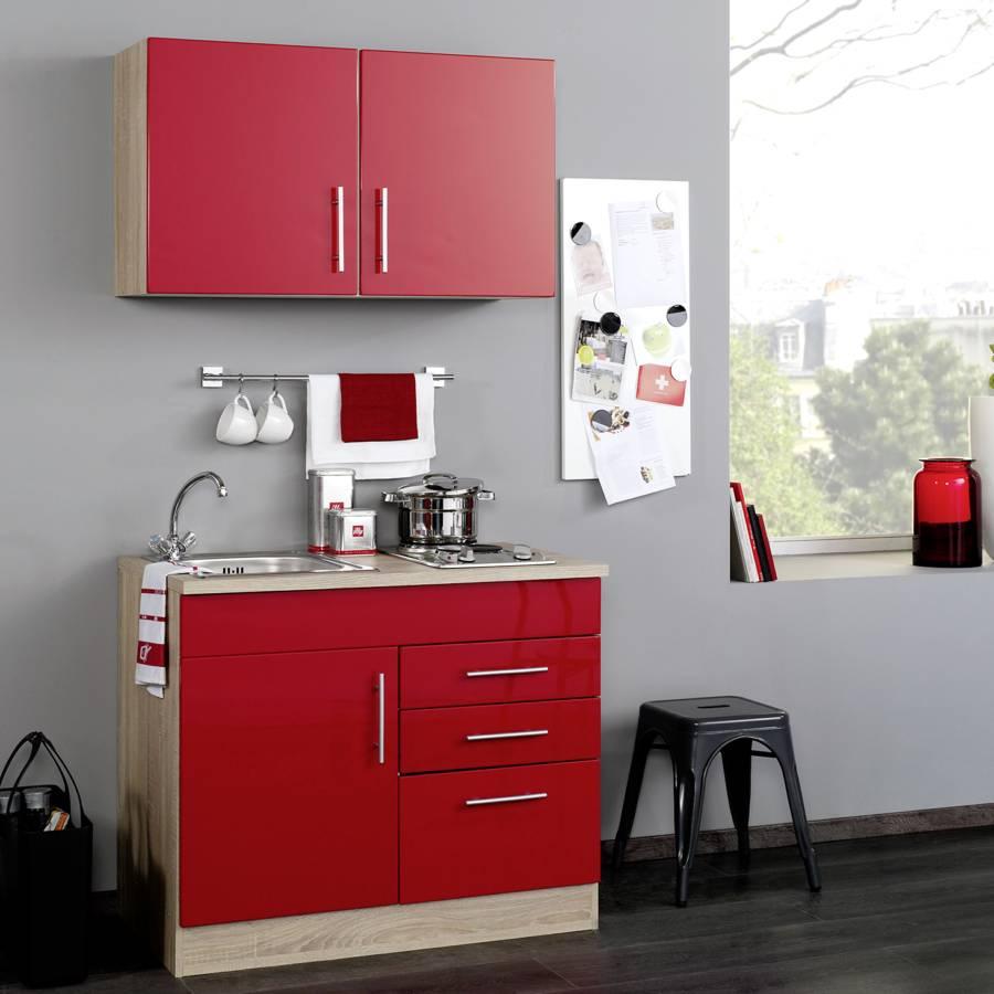 Single küchenzeile Toronto RotKochplatte 100 Hochglanz Cm CdBoex