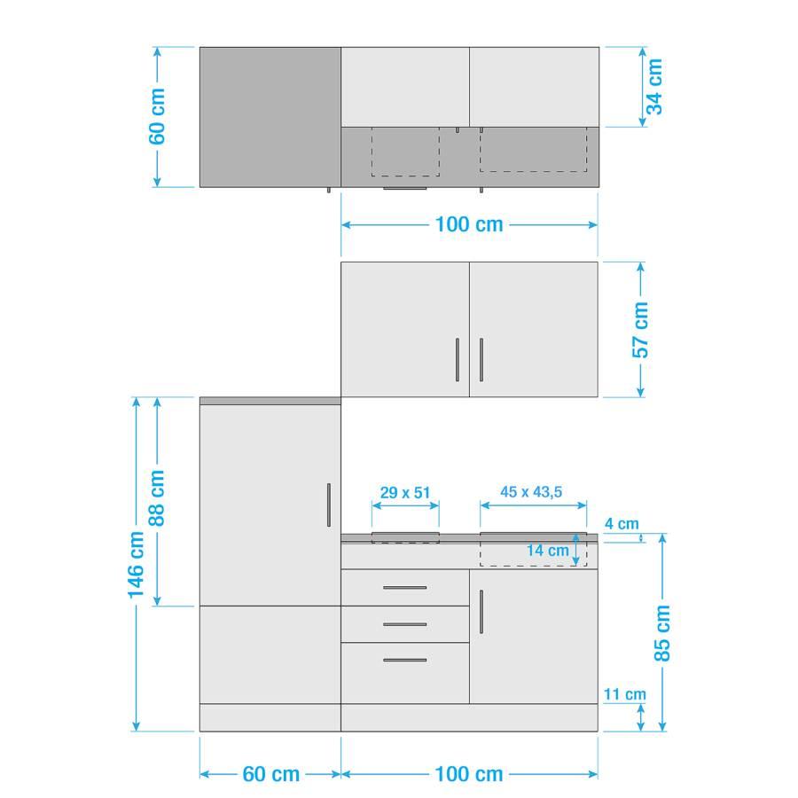 CremaKochplatte Küchenzeile Cm Hochglanz Toronto I 160 sQCtrdhx